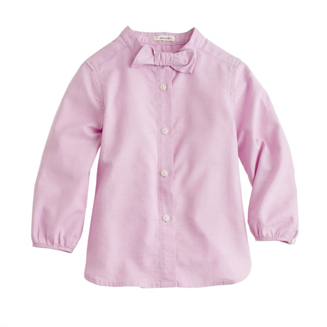 Girls' bow shirt in tissue oxford