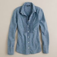 Chambray tuxedo-pleat shirt