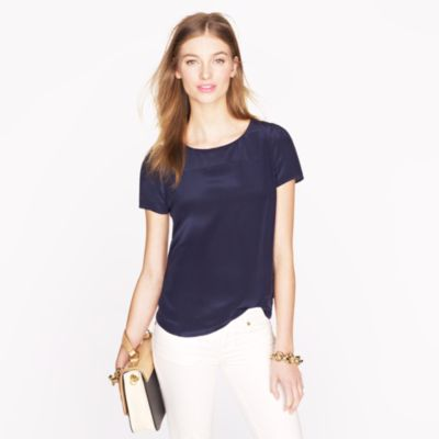 Silk short-sleeve blouse : | J.Crew
