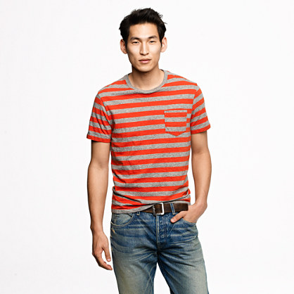 Broken-in pocket tee in summit orange stripe