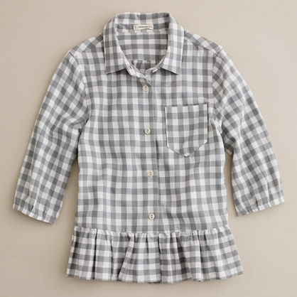 Girls' floating ruffle flannel shirt