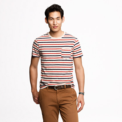Broken-in pocket tee in lighthouse red stripe
