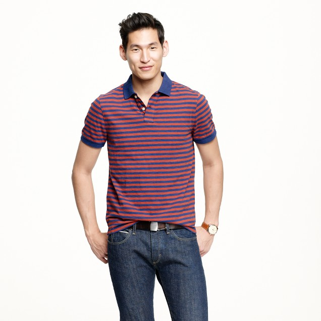 Slub jersey polo in admiral blue stripe