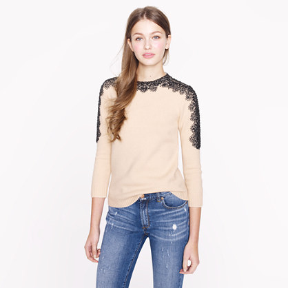 Collection beaded mockneck sweater