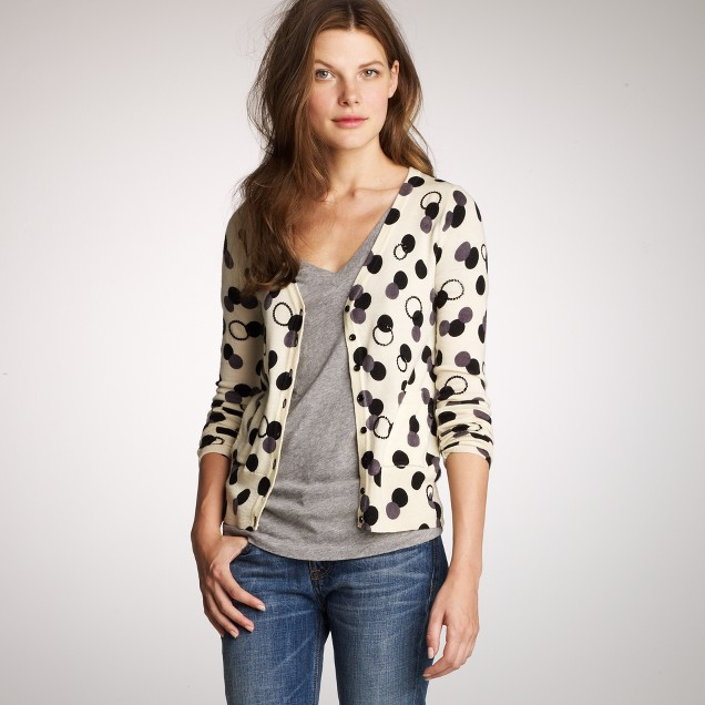 Merino sequined polka-dot cardigan