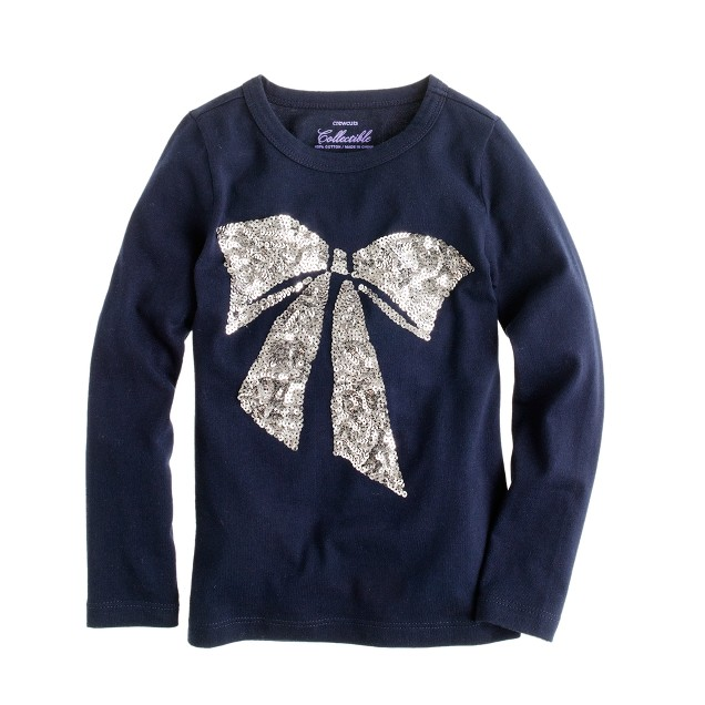 Girls' long-sleeve sequin bow tee
