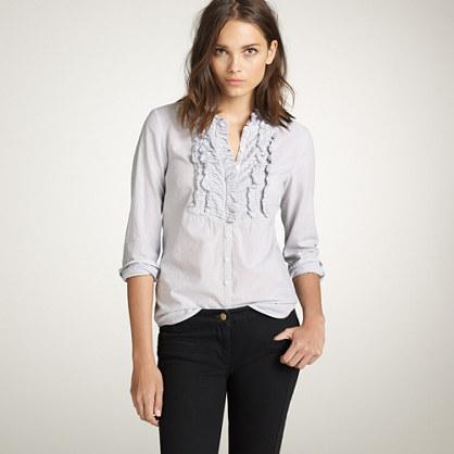 Chevron-pleat stripe shirt