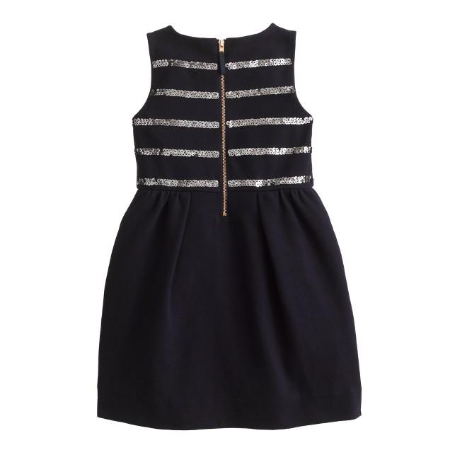 Girls' stripe sequin dress