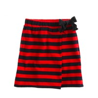 Girls' stripe faux-wrap skirt