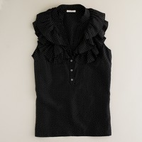 Dotted ruffle-up cami