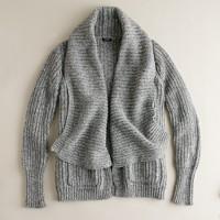 Chunky shawl-collar cardigan sweater