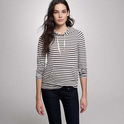 Drapey stripe pullover hoodie