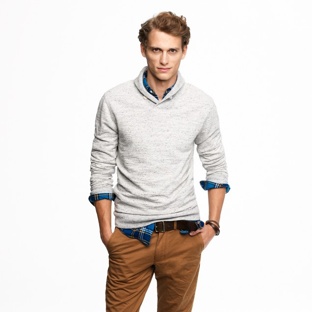 Fleece shawl-collar pullover