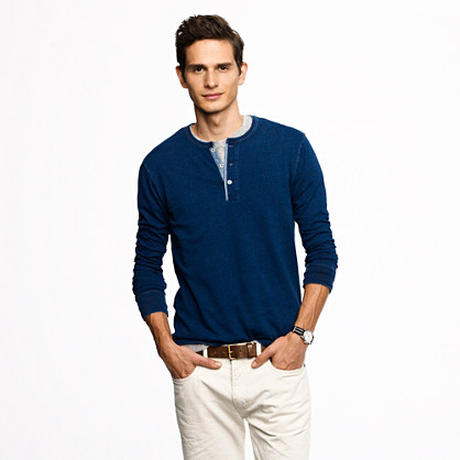 Wallace & Barnes long-sleeve henley in reverse dot