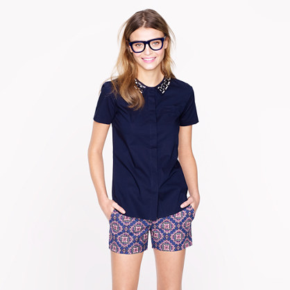 Collection jeweled-collar short-sleeve shirt