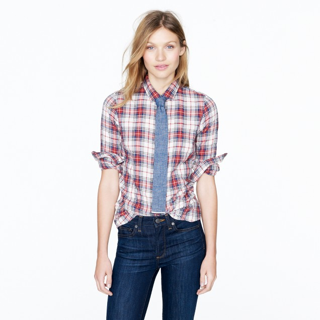 Perfect shirt in ivory tartan