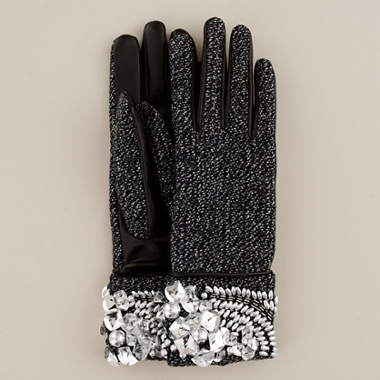 Jeweled cuff gloves