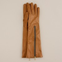 Long leather zip gloves