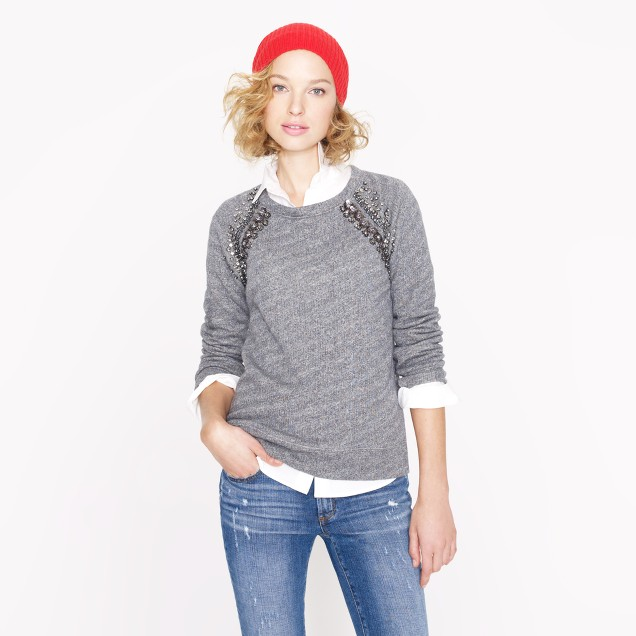 Collection embellished raglan sweatshirt