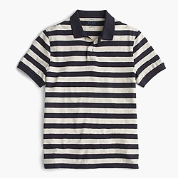 Textured cotton polo shirt in royal navy stripe