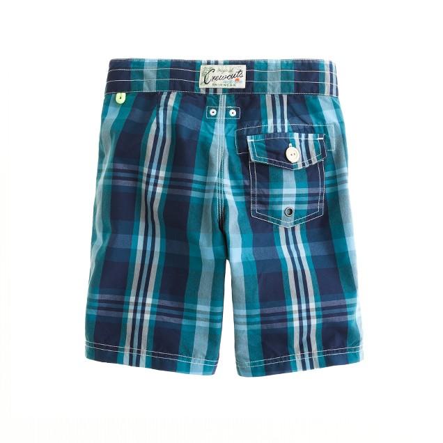 Boys' surf plaid board shorts