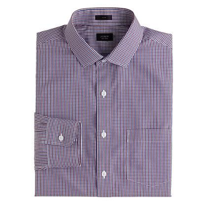 Slim non-iron dress shirt in vintage burgundy check
