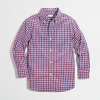 Factory boys' summer plaid shirt