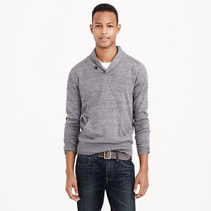 Rugged cotton shawl-collar sweater in slate