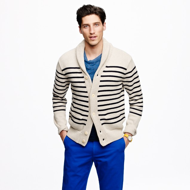 Shawl-collar cardigan in engineered stripe
