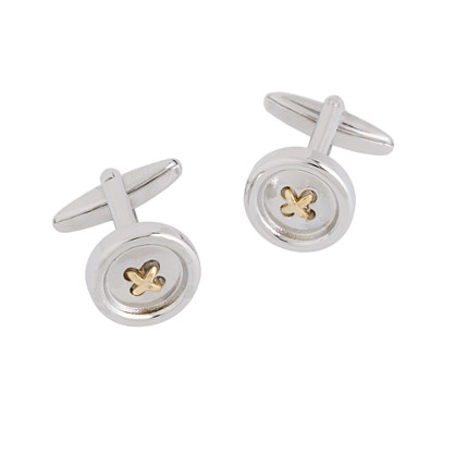 Metal button cuff links