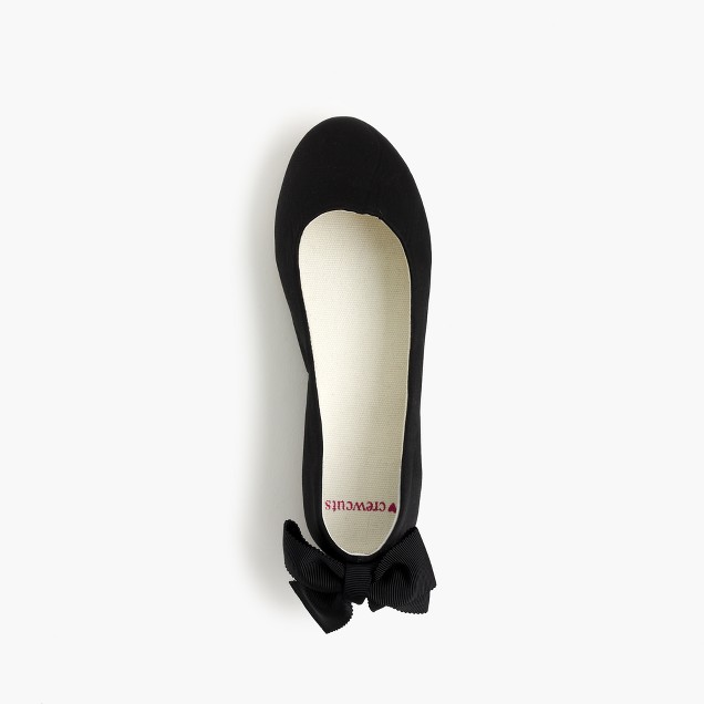 Girls' satin bow-back ballet flats