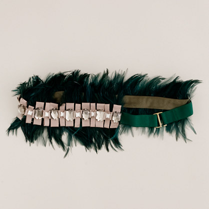 Feather and ribbon elastic belt