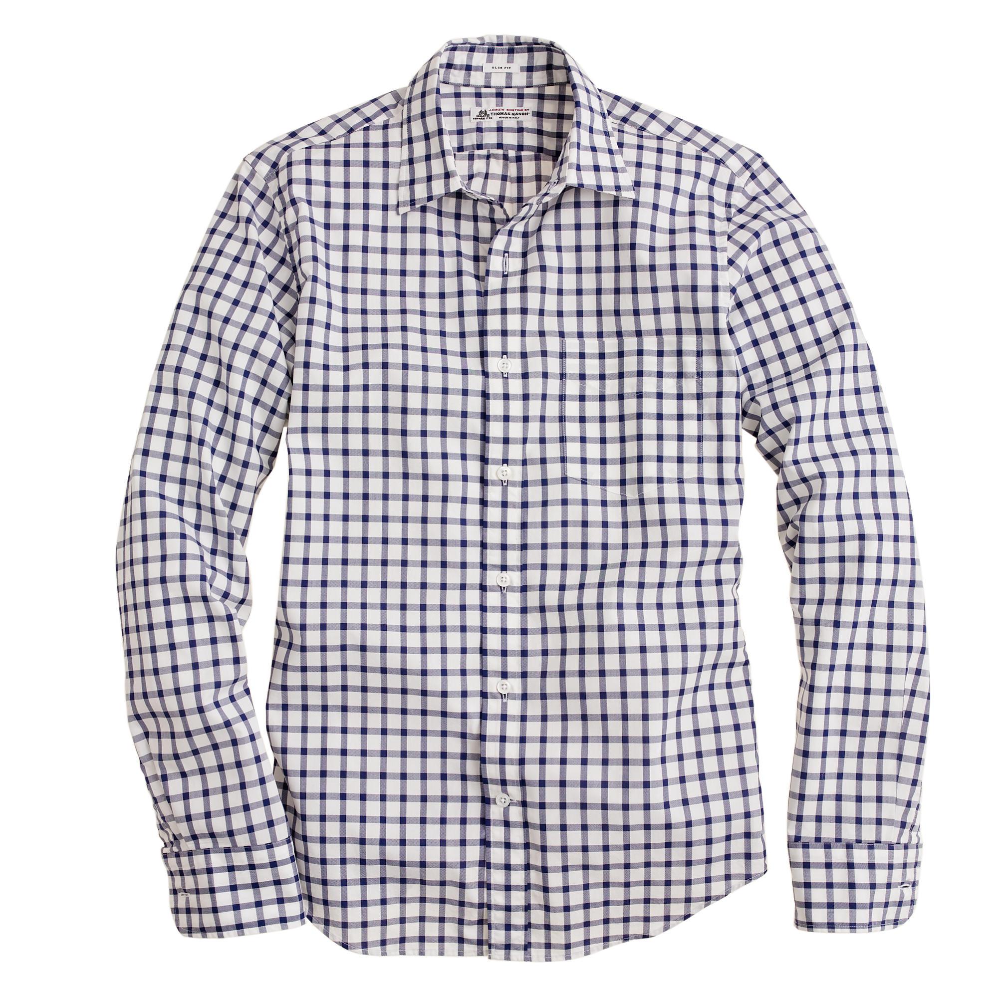 Slim Washed Thomas Mason Fabric Point Collar Shirt In