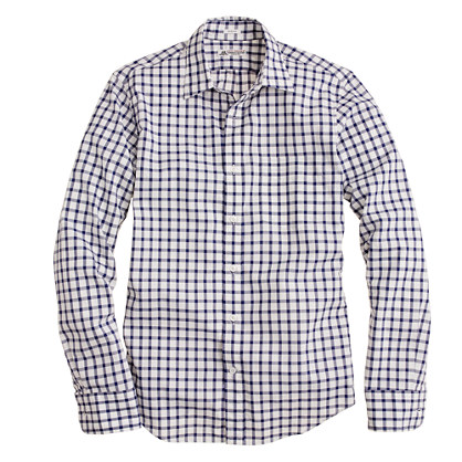 Slim washed Thomas Mason® fabric point-collar shirt in open tattersall