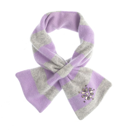 Girls' snowflake jewel striped scarf