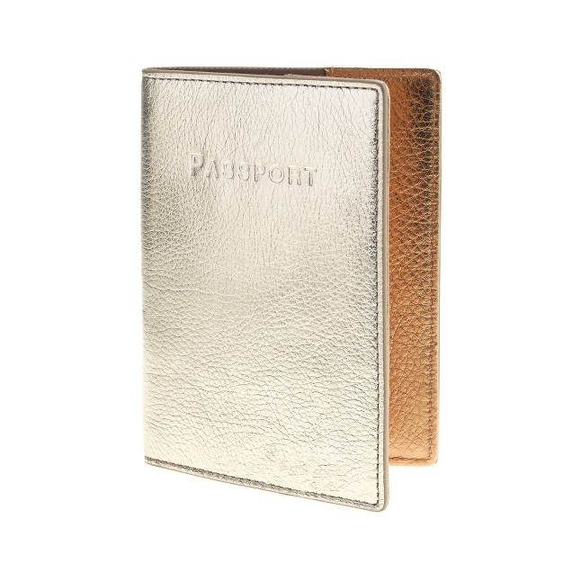 Colorblock leather passport case