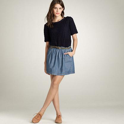 Shirred chambray skirt
