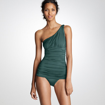 Jersey Lomellina® one-shoulder ruched tank