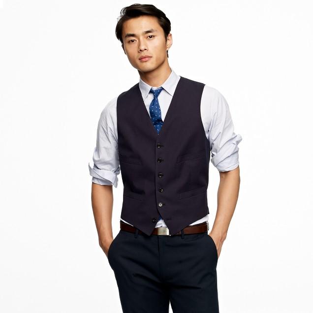 Suit vest in Italian cotton piqué
