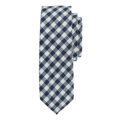 Extra-long cotton tie in classic gingham