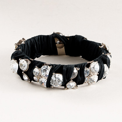 Ribbon-wrapped crystal bangle