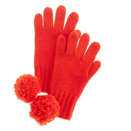 Girls' cashmere solid gloves