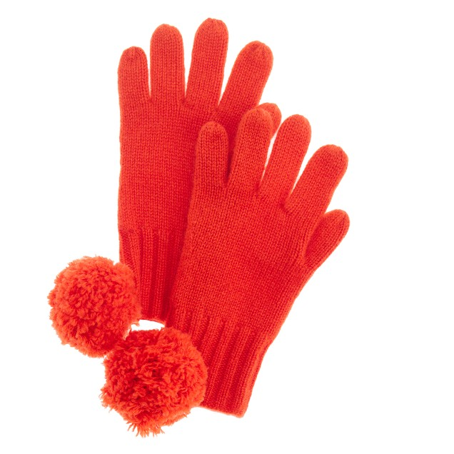 Girls' cashmere solid gloves