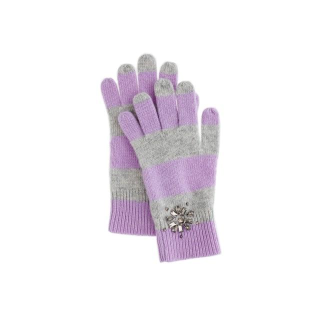 Girls' snowflake jewel stripe gloves