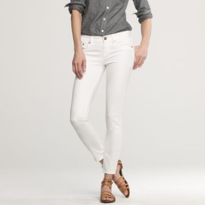 Ankle stretch toothpick jean in white denim : | J.Crew