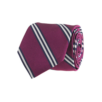 Repp-stripe silk tie in raisin