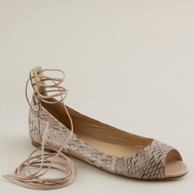 Lana snakeskin lace-up ballet flats