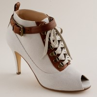 Jamestown canvas peep-toe ankle boots