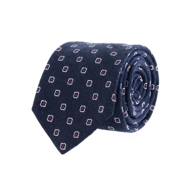 Geometric dot silk-wool tie