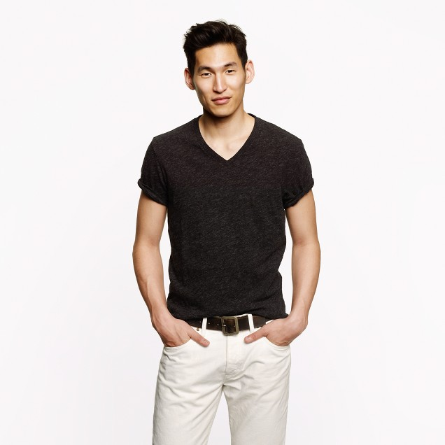 Slim field knit V-neck T-shirt
